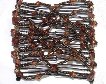 Beaded Hair Clip Stretch Comb French Twist Retro Costume Jewelry