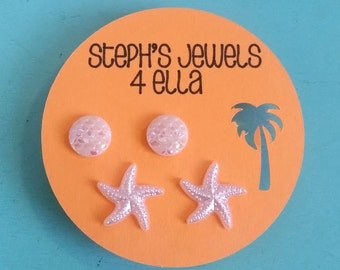 Beach Vacation Set White Iridescent Mermaid Sparkle Circle and Pearl White Starfish Earrings