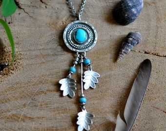 Sterling Turquoise Necklace, Oxidised Sterling Silver Statement Pendant, Gemstone Metalwork Necklace - Dreamcatcher Pendant in Turquoise