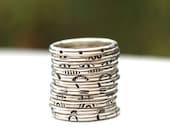 Rockin Stack Rings, Sterling Stack Rings, Pattern Stack Rings, Midi Ring, Sterling Silver Hipster Ring, Womens  Rings, Hipster Stack Ring