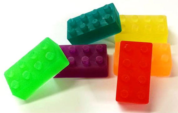 Building Block Brick Shaped Soap - 6-Pack - Kids Soap - Children Soap - Toy Soap - Party Favors - Choose Color/Scent