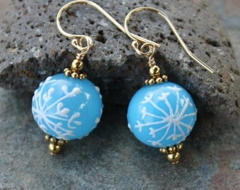 Icy Blue Snowflake Gold Earrings- aqua glass w/ painted white snowflakes, 14k Gold Filled -free shipping USA - also avail in sterling silver
