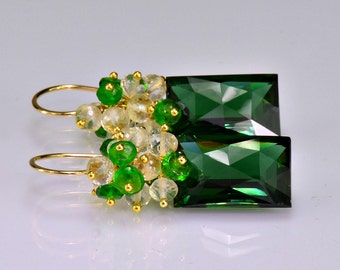 Dark Green Amethyst Cluster Earrings Scapolite  Chrome Diopside 14k Gold Filled Wire wrapped Dangle Earrings