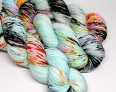 Hand Dyed Speckled Sock Yarn - SW Sock 80/20 - Superwash Merino Nylon - 400 yards - Sugar Pop Fizz
