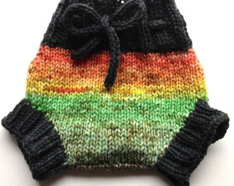 Diaper Cover  Wool - Hand dyed Sunset Newborn/Small Baby Handknit Wool Soaker  with Knit Drawstring