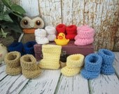 Baby Booties, Crochet Baby booties, Newborn booties,  0-3 month booties, 6-12 month booties, Pick your color, boy booties, girl booties