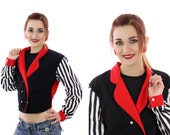 80s Cropped Jacket New Wave Punk Striped Military Crop Red Black White Bolaro 1980s 90s Coat Medium M Small S