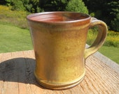 Yellow ash mug, shino mug, wood-fired mug, split-fire pottery, coffee mug, tea mug, pottery, ceramic,