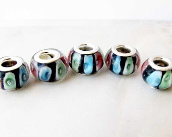 Green Pink Black and Blue Lampwork Glass Jewelry Design Craft Supply European Charm 5 beads LW 2
