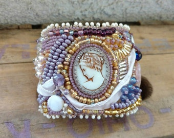 Beaded Vintage Cameo Cuff