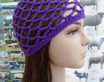 PURPLE crochet mesh abba cap mesh beanie 60s 70s revisited