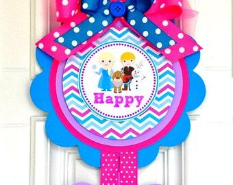 Frozen Door Sign, XL Vertical Door Sign, Frozen Birthday Party Decorations