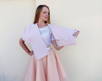 BRIDAL SHRUG CAPELET Pull-Through Cropped Hem Dusty_Rose Nude Tailored Cotton Jacket with Couture Slash and Batting