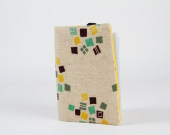 Fabric card holder - Hydrangea in green and yellow / dark eggplant emerald / linen blend