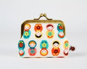Metal frame change purse - Mini matryoshkas in green and orange - Deep mum / Suzy's mini / russian dolls / blue red yellow