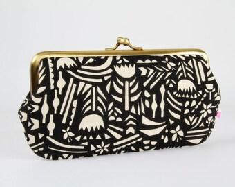 Frame purse with two sections - Botanica black - Wowlet / Kisslock wallet / Japanese fabric / Ellen Luckett Baker / Neon green fuchsia pink