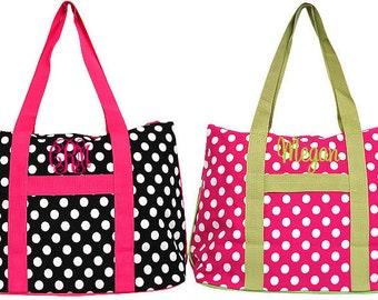 Monogrammed Polka Dot Large Tote Bag
