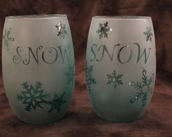 Teal Snowy snowflake Candle Holder set of 2
