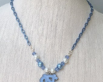 ON SALE UNC Tar Heels Beaded PENDant  Teacher Co-Worker STOCKIng Stuffer GRADuation  BIRTHday Gift  Necklace By DYEnamite
