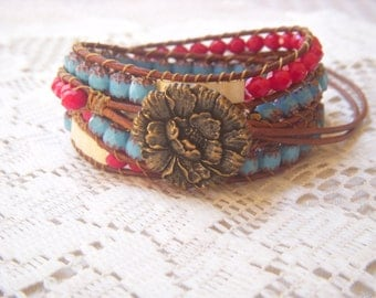 Gypsy Rose 4x Beaded Leather Wrap Bracelet Red White Blue
