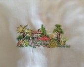 Vintage Embroidered Orphan Pillow Case, Embroidered Southern Belle, Cottage Garden, reserved 4 Pamela