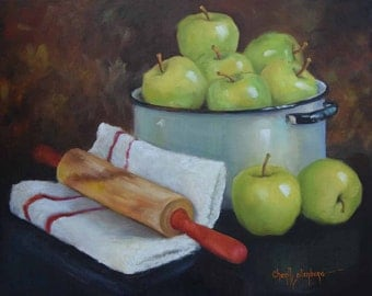 Apple Still Life Painting, Green Apples For Pie Baking,Still Life Art,Original Oil Painting on Canvas by Cheri Wollenberg