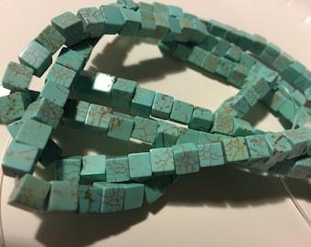 Bead, Magnesite, Light Blue Green Cube 6x6mm