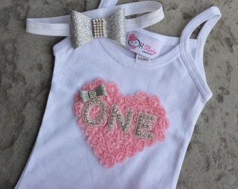 SET Birthday Rhinestone ONE  rosette heart shirt and skirt set Infant Toddler Baby Newborn for Birthday Party or Birthday photo shoot