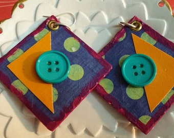 paper mache handmade earrings