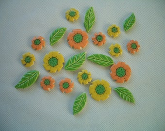 22OY - 22 pc Fabulous FLOWERS w Leaves  - Ceramic Mosaic Tiles