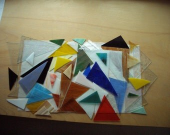 SALE - 9G - TRIANGLES Lot, Stained Glass - Scrap Glass for Mosaic Projects