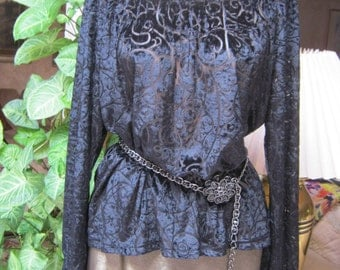 Vintage black velvet boho burnout velvet blouse, black velvet peasant style blouse, semi sheer black velvet pattern blouse size Small