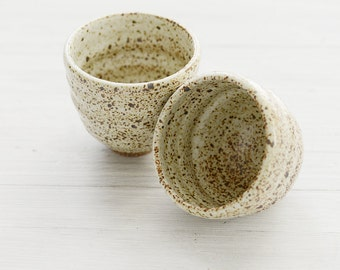 Set of 2 Wheel Thrown wabi sabi tea cups