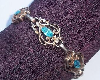 Vintage Barclay Goldtone Bracelet w/ Pale Blue Marquis Rhinestones - 1940s-1950s Signed Costume Jewelry Bracelet - Goldtone Filigree
