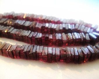 """Shop Sale...Garnet Heishi Beads, Natural Gemstones, 8"""" strand, Brides, Wholesale Gems, 4-5mm,"""