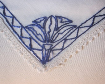 Antique Linen Embroidered Table Topper with Cobalt