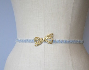 Blue Bijoux Bridal Sash In Powder Blue And Gold