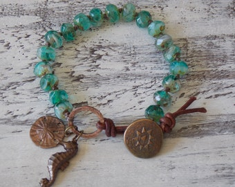 Seahorse and Sand Dollar Knotted Leather Wrap Bracelet Nautical Rustic Boho Wrap Bohemian Beachy Charms