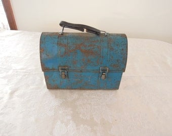 Blue Metal Lunch Box