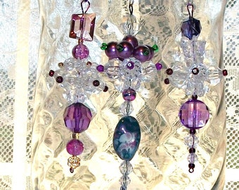 Holiday ORNAMENTS Dangles Pink and Purple , Christmas or Valentine Tree, Set of Three (27)