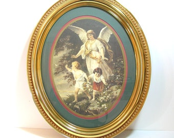 Guardian Angel With Children Framed Oval Print