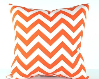 Orange Chevron Outdoor Decorative Throw Pillow - Orange and White Zig Zag - Free Shipping