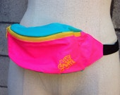 Fanny Pack Vintage 1980s Nylon Vegan Neon Waistpack Hip Pink Blue Yellow Bum Bag