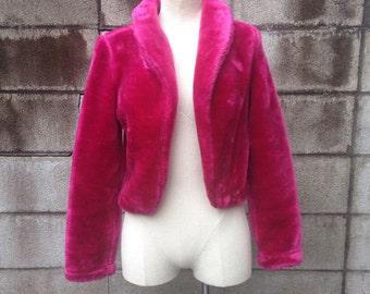 Faux Fur Jacket Vintage 1990s Cropped Coat Pink