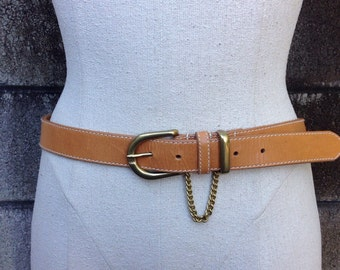 Brown Leather Belt Vintage 1980s Dockers With Chain Women's fits 32-36 inch waist