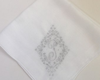 Vintage White Hanky with a White Initial T  - Handkerchief Hankie
