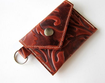 Leather Keychain Wallet - Coin Case Cash Cards - Decorative Textured Leather