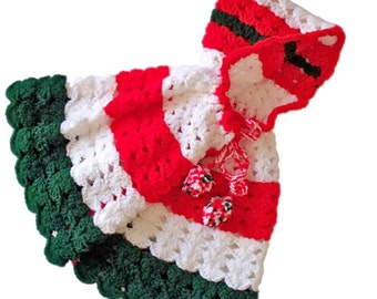 Babys First Christmas Holiday Hooded Cape Crochet Infants Clothing