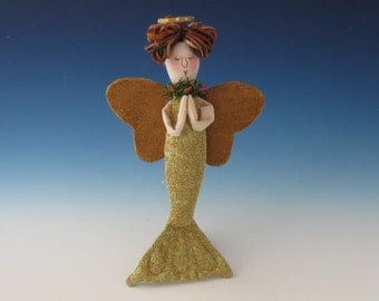 Angel Mermaid ORNAMENT, Mermaid Doll Ornament, Ornaments, Primitive Mermaid, Mermaid