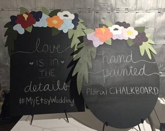 Handpainted Floral Chalkboard